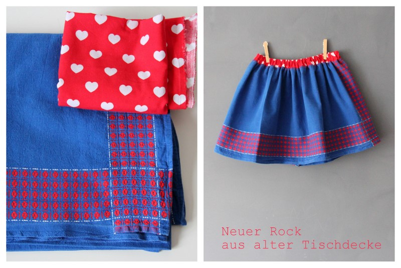 Neuer Rock aus alter Tischdecke - new skirt from old table cloth