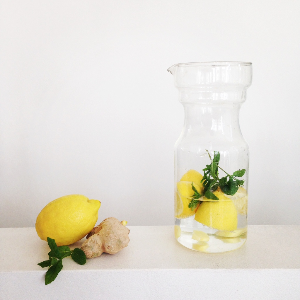 Infused water - Zitrone, Minze, Ingwer
